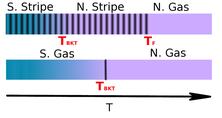 Representació esquemàtica de les transicions de fase tèrmiques observades en la fase stripe i gas del sistema dipolar bosònic en dues dimensions